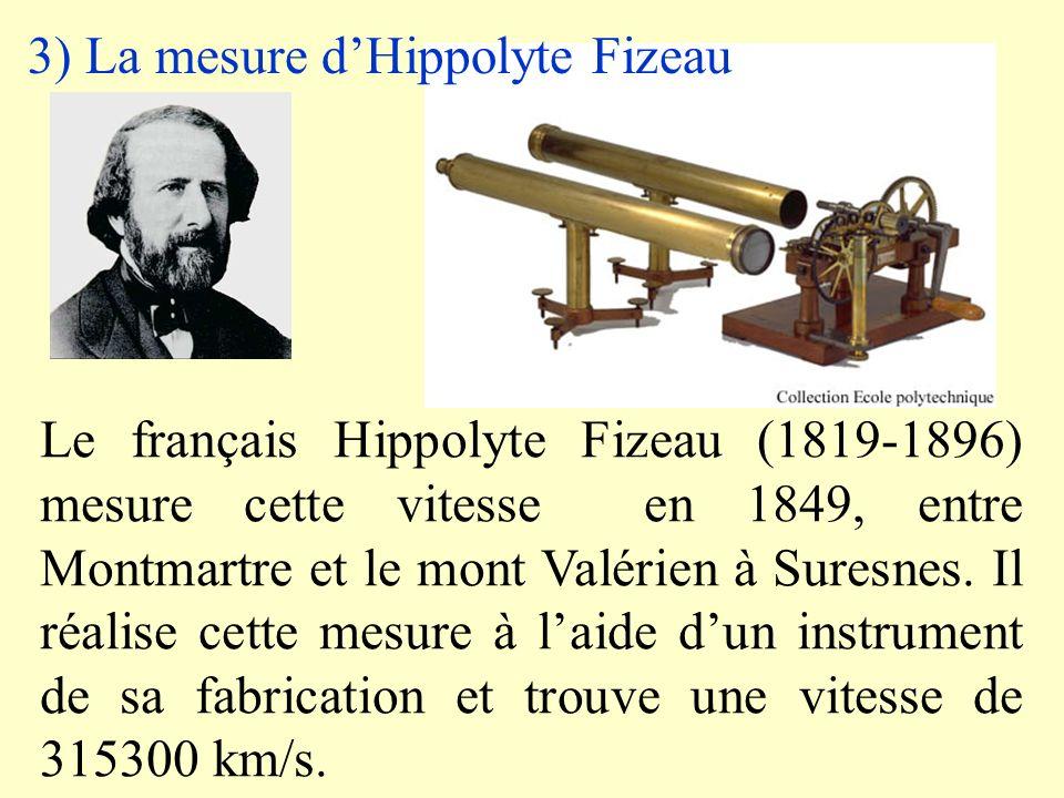 2) Première mesure par Römer Le Danois Ole Christensen Römer (1644-1710) Réalise la première mesure en 1676 En se basant sur la position dans lespace