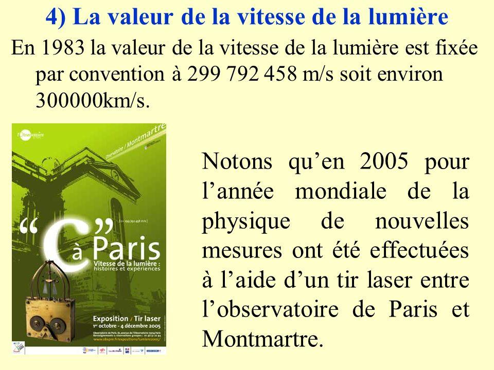 4) La valeur de la vitesse de la lumière En 1983 la valeur de la vitesse de la lumière est fixée par convention à 299 792 458 m/s soit environ 300000km/s.