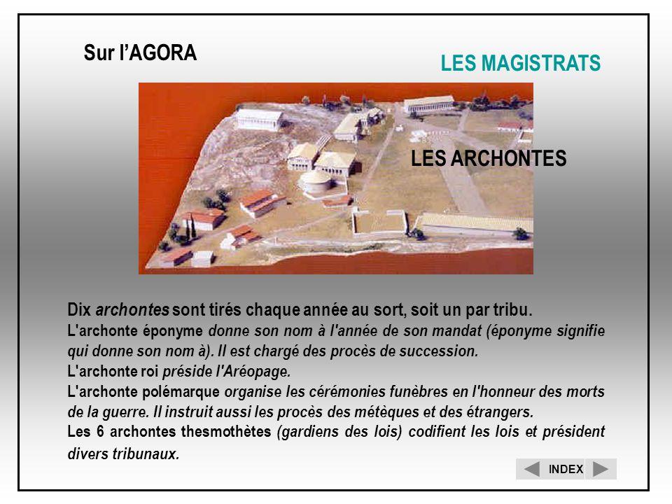 LES ARCHONTES Sur lAGORA LES MAGISTRATS INDEX Dix archontes sont tirés chaque année au sort, soit un par tribu. L'archonte éponyme donne son nom à l'a