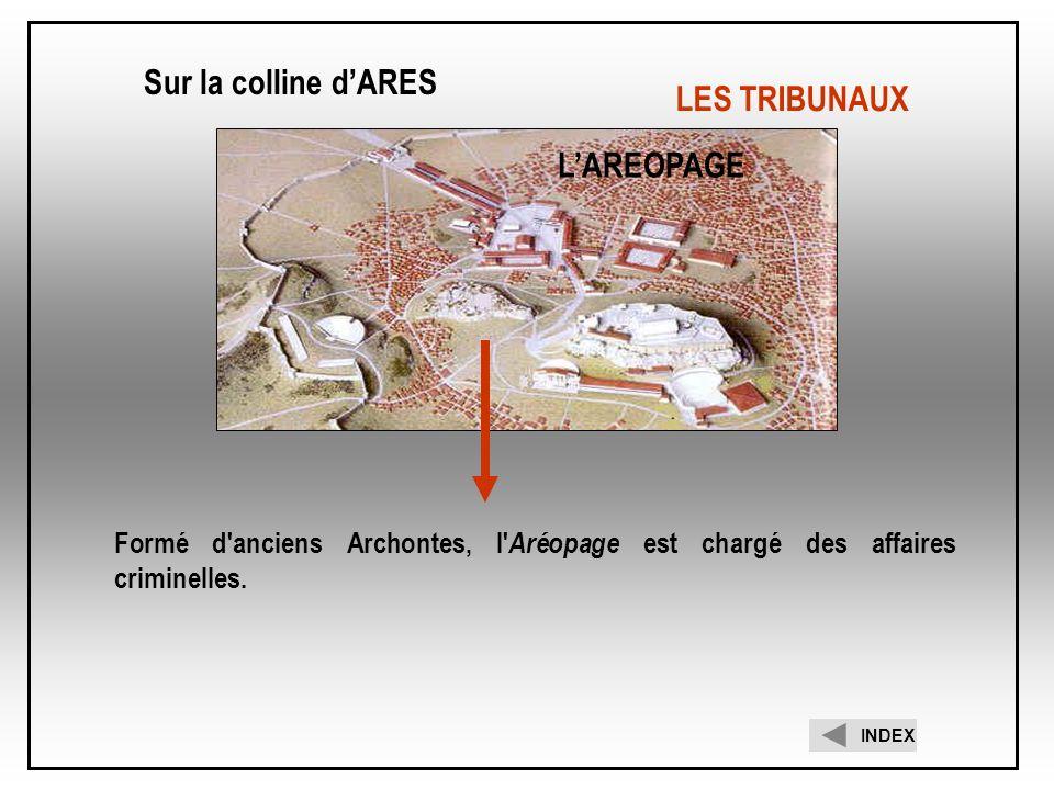 Formé d'anciens Archontes, l' Aréopage est chargé des affaires criminelles. LAREOPAGE Sur la colline dARES INDEX LES TRIBUNAUX