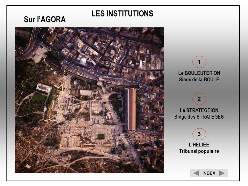 LES INSTITUTIONS 1 Le BOULEUTERION Siège de la BOULE 2 Le STRATEGEION Siège des STRATEGES 3 LHELIEE Tribunal populaire Sur lAGORA INDEX
