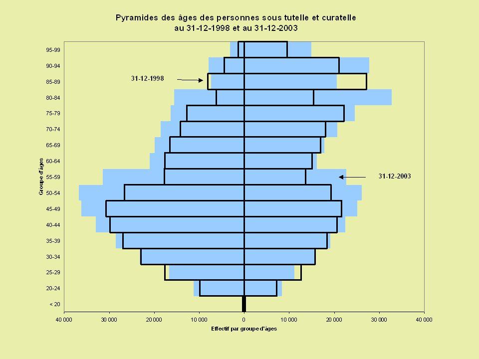 La population des majeurs protégés vivant en institution peut être divisée en trois groupes Groupe 1 (31%) Déficience psychologique ou du comportement Établissements psychiatriques Origine des déficiences : pas problèmes liés à la naissance Curatelle Pas ou peu de dépendance psychique et pas de dépendance physique Homme Groupe 2 (35%) Personne âgée à la retraite Dépendance psychique et confiné au lit ou au fauteuil Institutions pour personnes âgées Déficience motrice Femme Groupe 3 (34%) Institutions pour adolescents et adultes Origine des déficiences : problèmes liés à la naissance Déficiences intellectuelles Avec un emploi 20-50 ans