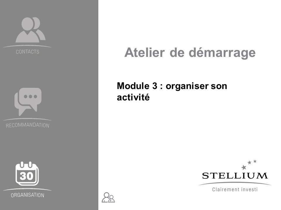 Atelier de démarrage Module 3 : organiser son activité
