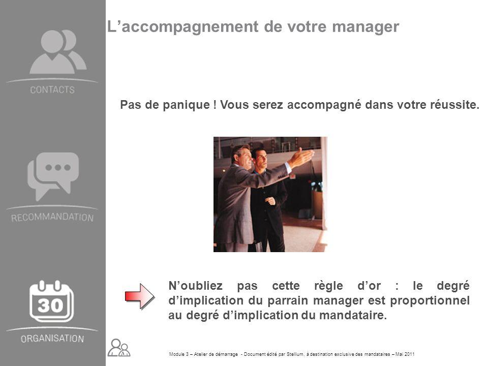 Module 3 – Atelier de démarrage - Document édité par Stellium, à destination exclusive des mandataires – Mai 2011 Laccompagnement de votre manager Pas