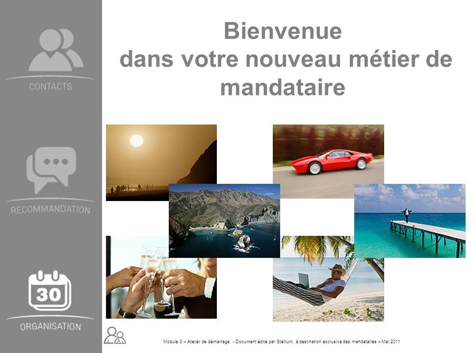 Module 3 – Atelier de démarrage - Document édité par Stellium, à destination exclusive des mandataires – Mai 2011 Bienvenue dans votre nouveau métier