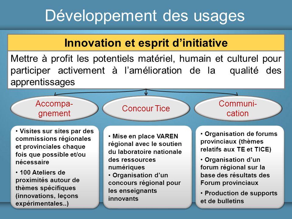 Développement des usages Innovation et esprit dinitiative Mettre à profit les potentiels matériel, humain et culturel pour participer activement à lam