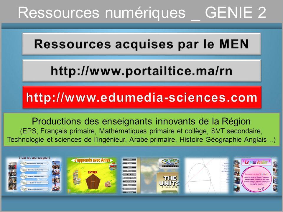 Ressources numériques _ GENIE 2 Productions des enseignants innovants de la Région (EPS, Français primaire, Mathématiques primaire et collège, SVT sec