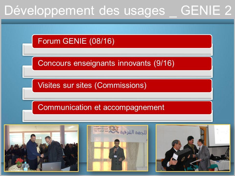 Développement des usages _ GENIE 2 Forum GENIE (08/16)Concours enseignants innovants (9/16)Visites sur sites (Commissions)Communication et accompagnem