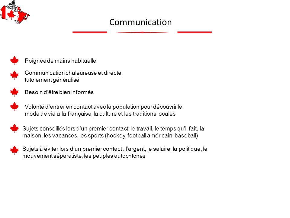 Communication Sujets conseillés lors dun premier contact: le travail, le temps quil fait, la maison, les vacances, les sports (hockey, football améric