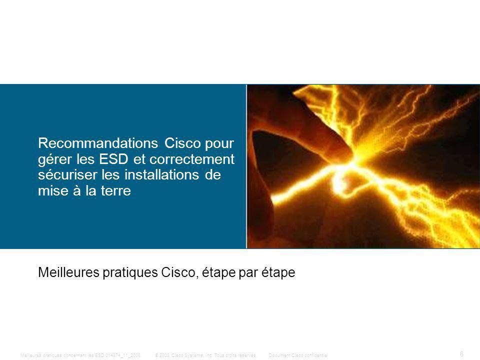 6 © 2008 Cisco Systems, Inc. Tous droits réservés.Document Cisco confidentiel Meilleures pratiques concernant les ESD 014874_11_2008 Recommandations C