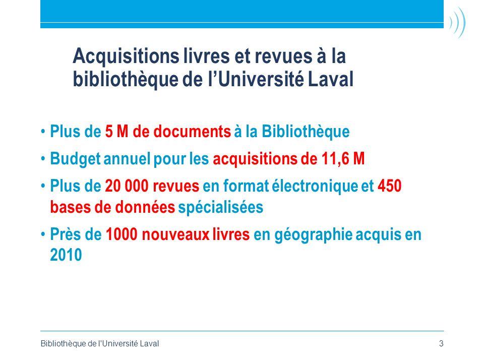 Acquisitions livres et revues à la bibliothèque de lUniversité Laval Plus de 5 M de documents à la Bibliothèque Budget annuel pour les acquisitions de
