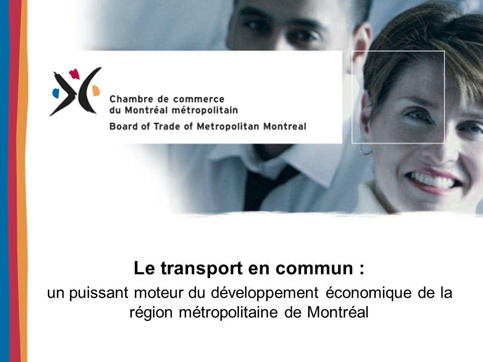 Le transport en commun : un élément crucial de compétitivité Le transport au cœur du développement des agglomérations urbaines Le transport en commun au cœur de lefficacité des transports Les agglomérations urbaines au cœur du développement économique