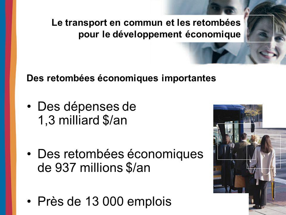 Le transport en commun et les retombées pour le développement économique Des économies de près de 600 millions $/an pour les ménages Des retombées locales deux fois plus importantes que des dépenses équivalentes effectuées dans le domaine de lautomobile Un impact majeur pour les ménages montréalais
