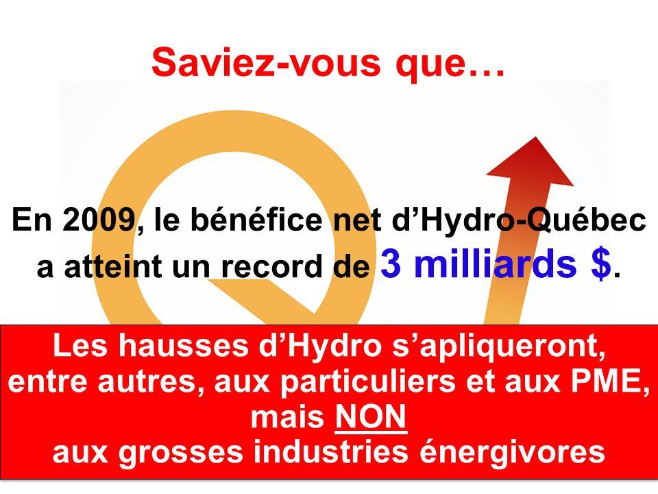 Saviez-vous que… En 2009, le bénéfice net dHydro-Québec a atteint un record de 3 milliards $. Les hausses dHydro sapliqueront, entre autres, aux parti