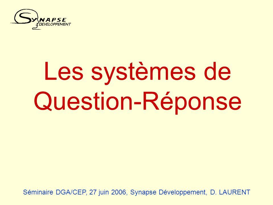Séminaire DGA/CEP, 27 juin 2006, Synapse Développement, D. LAURENT Les systèmes de Question-Réponse