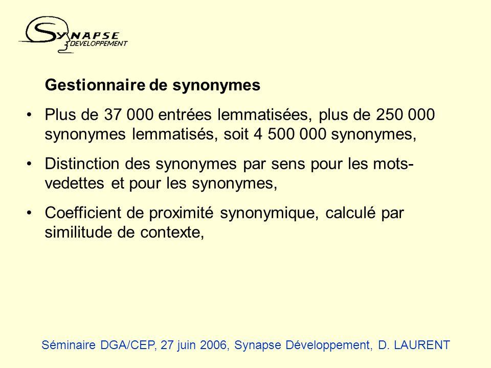 Gestionnaire de synonymes Plus de 37 000 entrées lemmatisées, plus de 250 000 synonymes lemmatisés, soit 4 500 000 synonymes, Distinction des synonyme