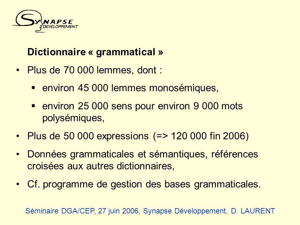 Dictionnaire « grammatical » Plus de 70 000 lemmes, dont : environ 45 000 lemmes monosémiques, environ 25 000 sens pour environ 9 000 mots polysémique