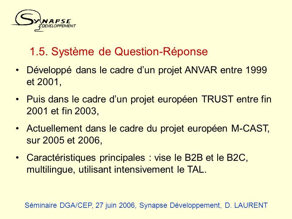 1.5. Système de Question-Réponse Développé dans le cadre dun projet ANVAR entre 1999 et 2001, Puis dans le cadre dun projet européen TRUST entre fin 2