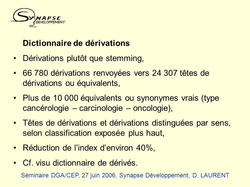 Dictionnaire de dérivations Dérivations plutôt que stemming, 66 780 dérivations renvoyées vers 24 307 têtes de dérivations ou équivalents, Plus de 10