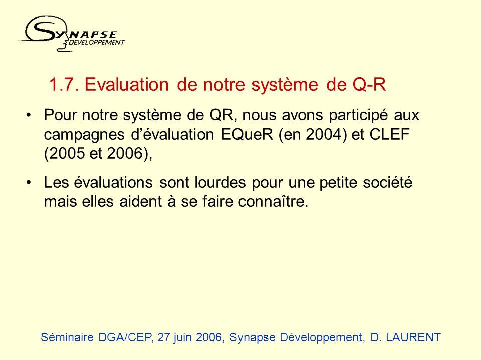 1.7. Evaluation de notre système de Q-R Pour notre système de QR, nous avons participé aux campagnes dévaluation EQueR (en 2004) et CLEF (2005 et 2006