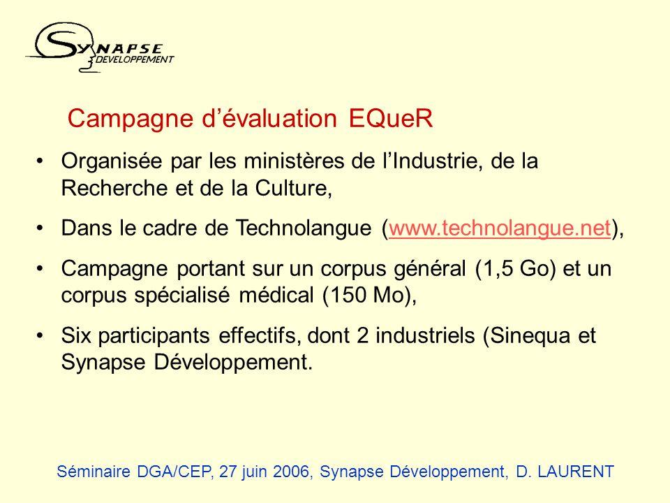 Campagne dévaluation EQueR Organisée par les ministères de lIndustrie, de la Recherche et de la Culture, Dans le cadre de Technolangue (www.technolang