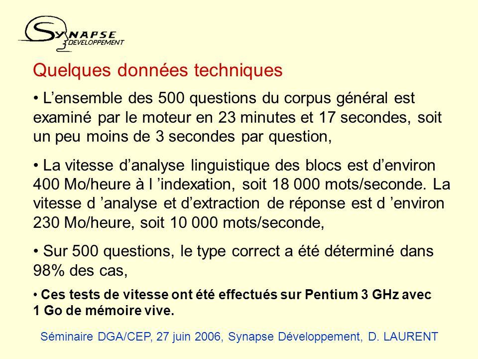 Quelques données techniques Lensemble des 500 questions du corpus général est examiné par le moteur en 23 minutes et 17 secondes, soit un peu moins de