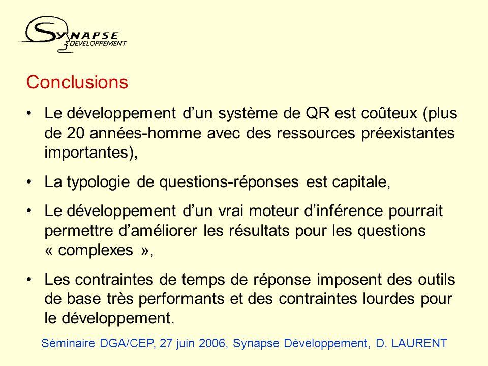 Conclusions Le développement dun système de QR est coûteux (plus de 20 années-homme avec des ressources préexistantes importantes), La typologie de qu