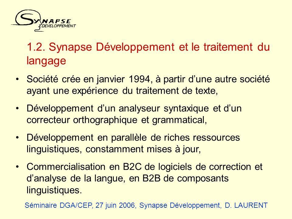 Quelques données sur la société : CA moyen : 500 k euros, Employés : 7 dont 3 ingénieurs en développement et 2 linguistes, Références : Outils de traitement de la langue pour le français intégrés aux logiciels Microsoft, Intégration de composants dans lEncyclopédie Universalis, pour lAFP, les Pages Jaunes, etc.