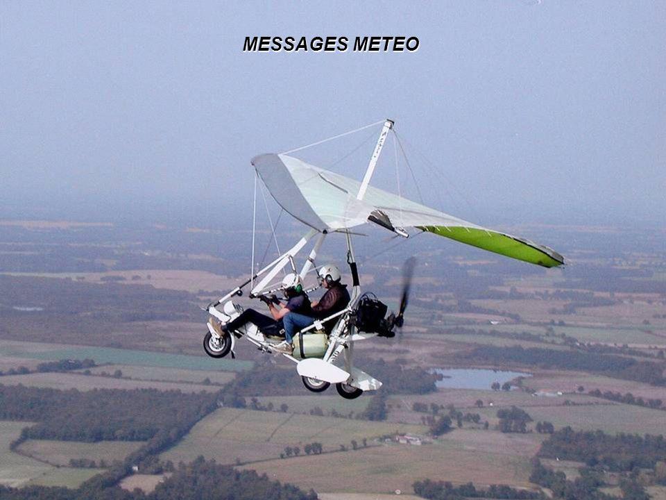 exercice (suite) BKN030CB BECMG 2103 29010KT 9999 FEW010 BKN025 TEMPO 0006 7000 –RA SCT015 BKN023 BKN030CB BECMG 2103 29010KT 9999 FEW010 BKN025 nuages fragmentés à 3000ft, présence de CB Évolution régulière ou irrégulières Prévues entre 21 et 03 h00 UTC Vent du 290 – 10kt Visibilité > 10 kms nuages fragmentés à 2500ft, Peu de nuages à 1000ft