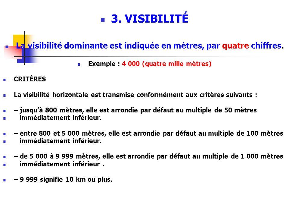 3.VISIBILITÉ La visibilité dominante est indiquée en mètres, par quatre chiffres.