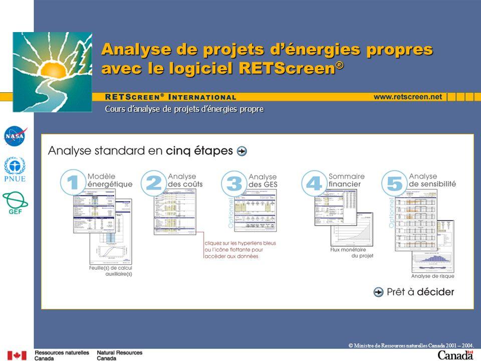 Analyse de projets dénergies propres avec le logiciel RETScreen ® © Ministre de Ressources naturelles Canada 2001 – 2004. Cours danalyse de projets dé