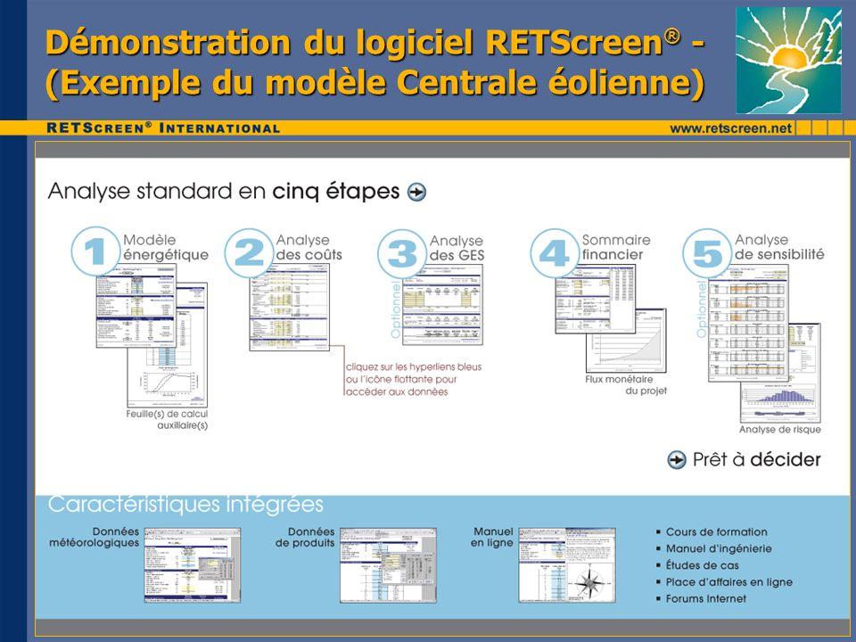 Démonstration du logiciel RETScreen ® - (Exemple du modèle Centrale éolienne)