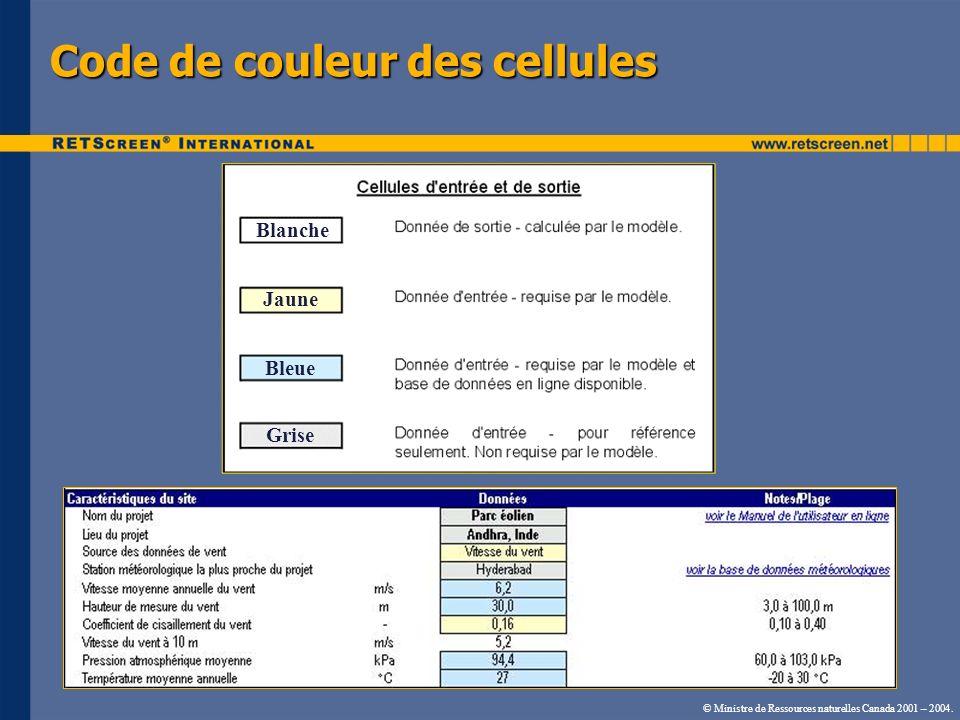 Code de couleur des cellules © Ministre de Ressources naturelles Canada 2001 – 2004. Blanche Jaune Bleue Grise
