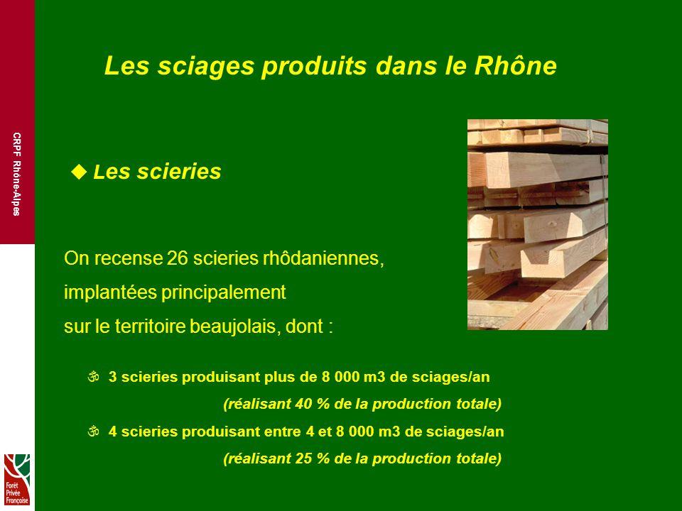 CRPF Rhône-Alpes Les sciages produits dans le Rhône u L es scieries On recense 26 scieries rhôdaniennes, implantées principalement sur le territoire beaujolais, dont : \ 3 scieries produisant plus de 8 000 m3 de sciages/an (réalisant 40 % de la production totale) \ 4 scieries produisant entre 4 et 8 000 m3 de sciages/an (réalisant 25 % de la production totale)