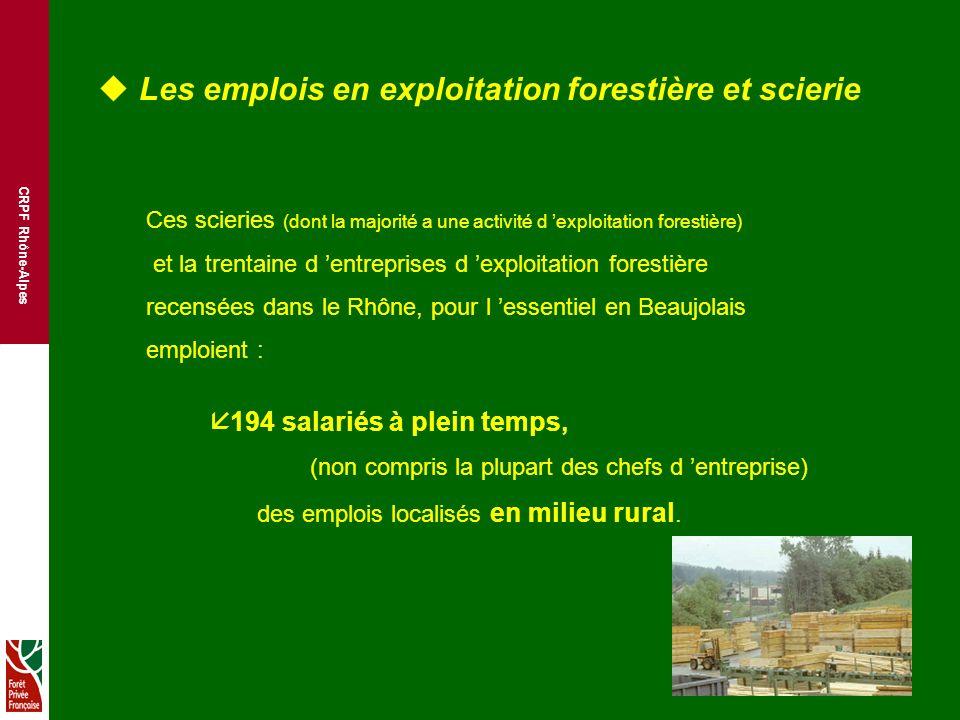 CRPF Rhône-Alpes u Les emplois en exploitation forestière et scierie Ces scieries (dont la majorité a une activité d exploitation forestière) et la trentaine d entreprises d exploitation forestière recensées dans le Rhône, pour l essentiel en Beaujolais emploient : å 194 salariés à plein temps, (non compris la plupart des chefs d entreprise) des emplois localisés en milieu rural.