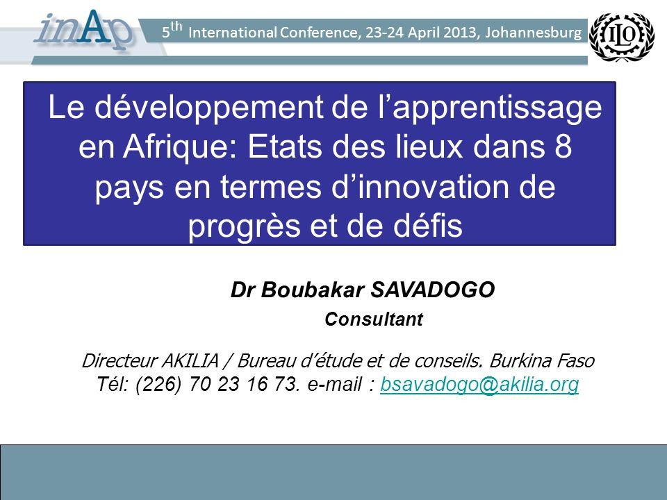 5 th International Conference, 23-24 April 2013, Johannesburg Le développement de lapprentissage en Afrique: Etats des lieux dans 8 pays en termes dinnovation de progrès et de défis Dr Boubakar SAVADOGO Consultant Directeur AKILIA / Bureau détude et de conseils.