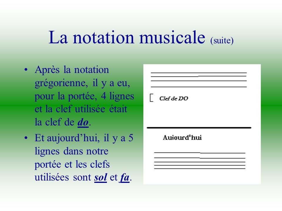 La notation musicale Au début, cétait des lignes avec, quelque- fois, du texte en- dessous. Plus tard, il y a eu une ligne pour la portée et il y avai