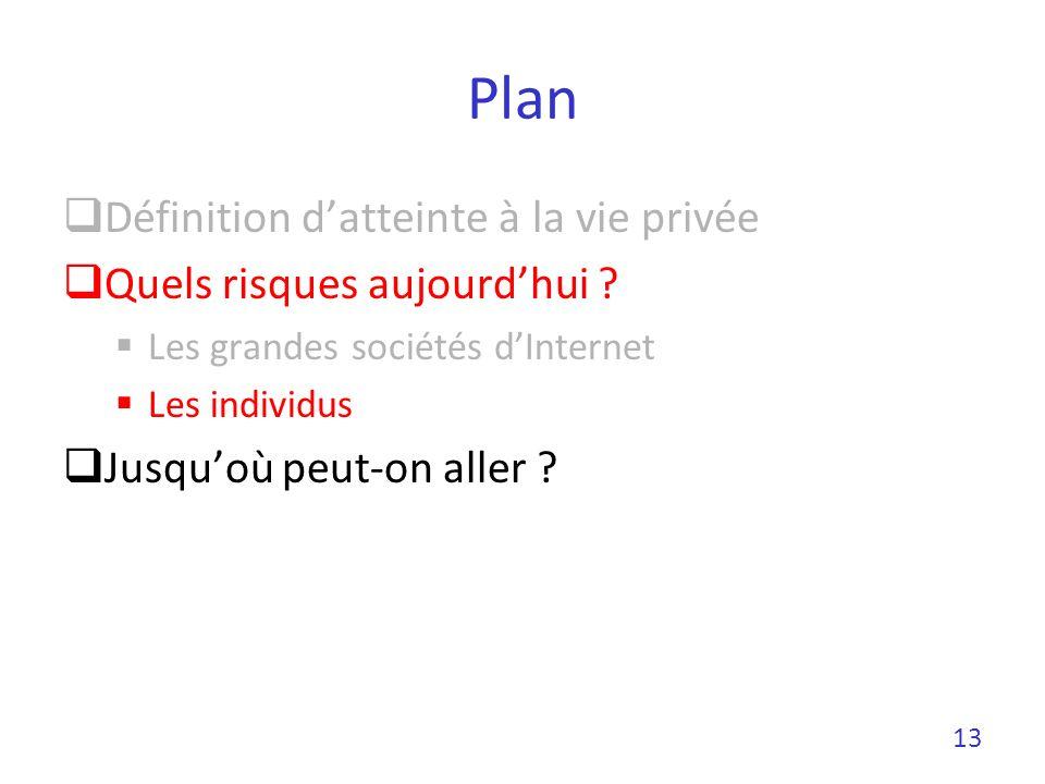Plan Définition datteinte à la vie privée Quels risques aujourdhui ? Les grandes sociétés dInternet Les individus Jusquoù peut-on aller ? 13