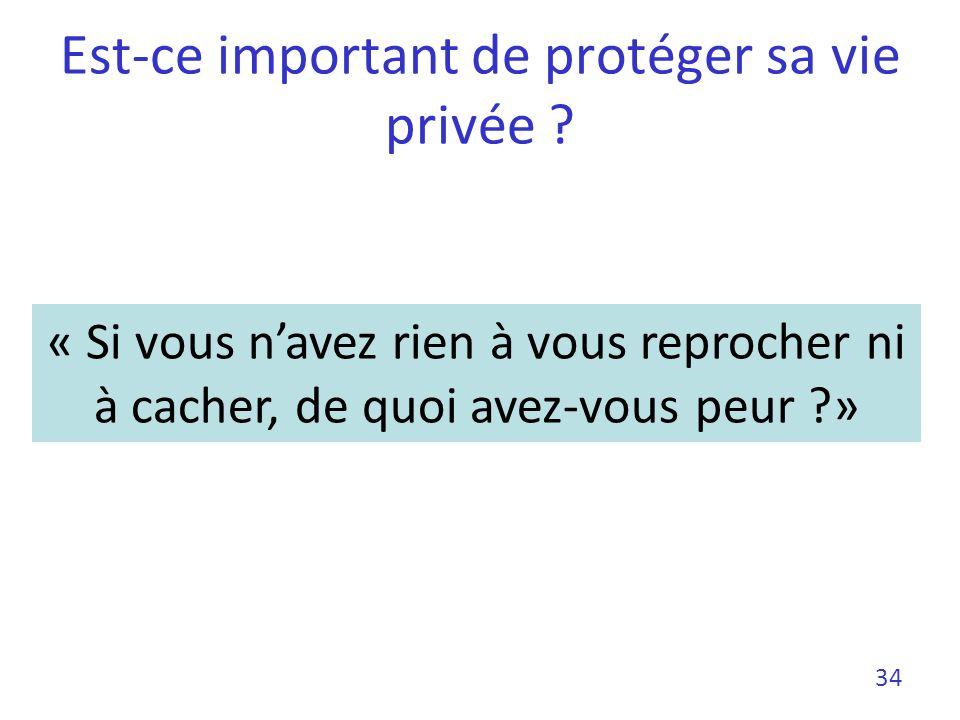 Est-ce important de protéger sa vie privée ? 34 « Si vous navez rien à vous reprocher ni à cacher, de quoi avez-vous peur ?»