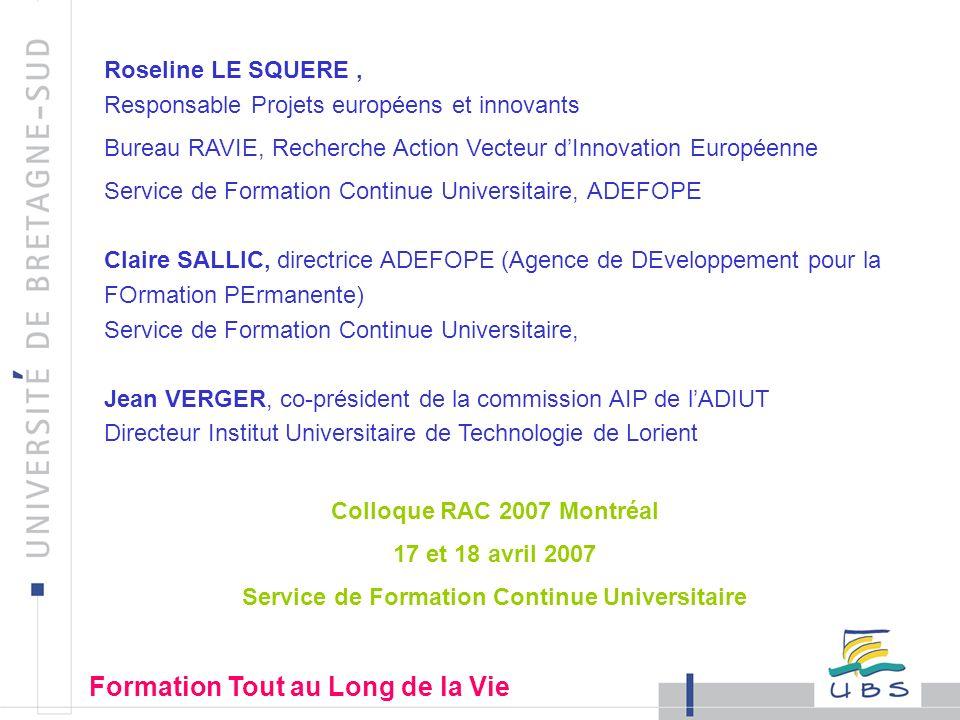33 VALEX Insertion sociale au travers de la Validation des Acquis et de la reconnaissance de L EXpérience Construction d un modèle Européen favorisant la réinsertion professionnelle par le biais de la validation des acquis Formation Tout au Long de la Vie