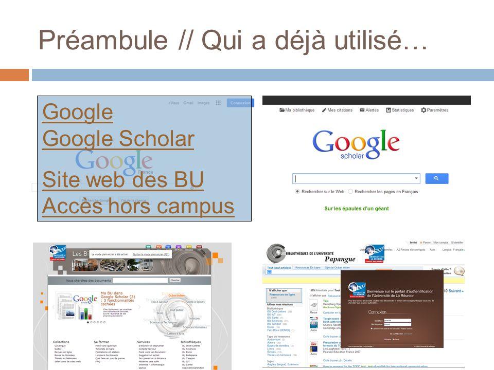 Préambule // Qui a déjà utilisé… Google Google Scholar Site web des BU Accès hors campus