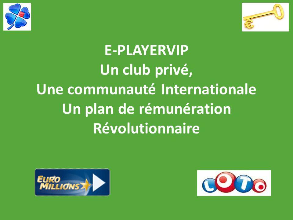 E-PLAYERVIP RECAPITULONS : PREMIERE FORMULE E-PLAYER CLUB « loriginal » 30,00/mois Autofinancement, loteries en groupe, gains de filiation SECONDE FORMULE E-PLAYERVIP À partir de 95,00 (versement unique) Gains jusquà 28 580,00 en cash, et plus !!.