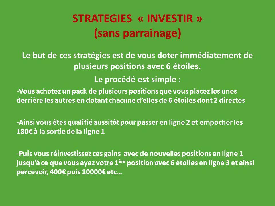 STRATEGIES « INVESTIR » (sans parrainage) Le but de ces stratégies est de vous doter immédiatement de plusieurs positions avec 6 étoiles. Le procédé e