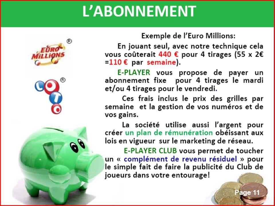 2 possibilités de rémunération PREMIERE FORMULE : Pour celles et ceux qui connaissent déjà E-playerclub, La formule dorigine est modifiée : MOINS CHERE MIEUX REMUNEREE Pour rappel : Vous vous abonnez (4 semaines renouvelables automatiquement) : pour 30,00 (au lieu de 33,50) qui vous donnent droit à 4 tirages LOTO (samedi) ou EURO MILLIONS (vendredi ou mardi) Vous gagnez chaque semaine, par filleul parrainé : 3,75 (au lieu de 2,58) Soit avec 2 filleuls : 3,75 x 2 x 4 = 30,00 AUTOFINANCEMENT .