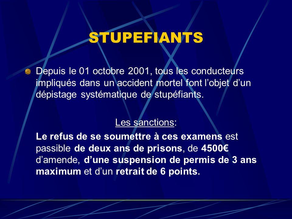 STUPEFIANTS Depuis le 01 octobre 2001, tous les conducteurs impliqués dans un accident mortel font lobjet dun dépistage systématique de stupéfiants. L