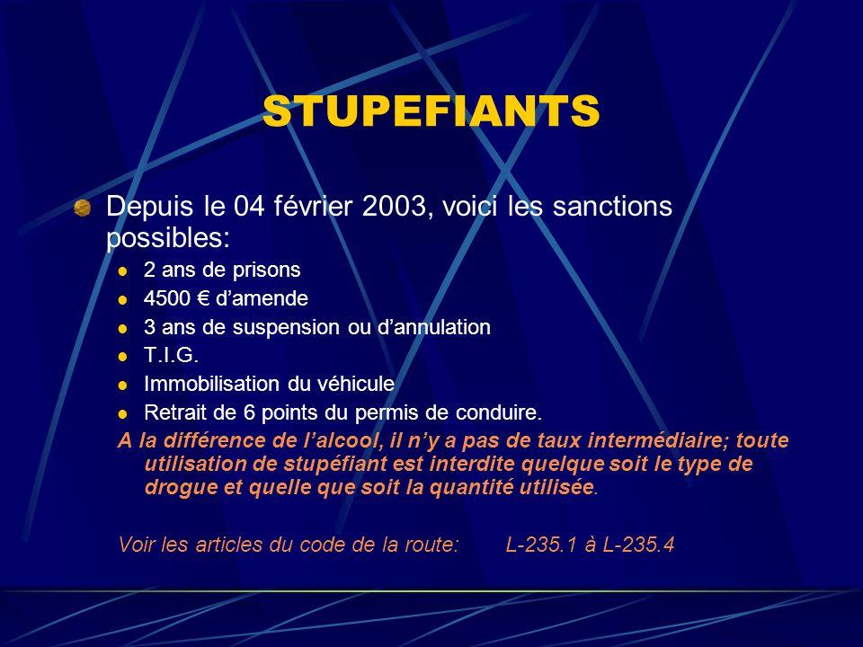 STUPEFIANTS Depuis le 04 février 2003, voici les sanctions possibles: 2 ans de prisons 4500 damende 3 ans de suspension ou dannulation T.I.G. Immobili