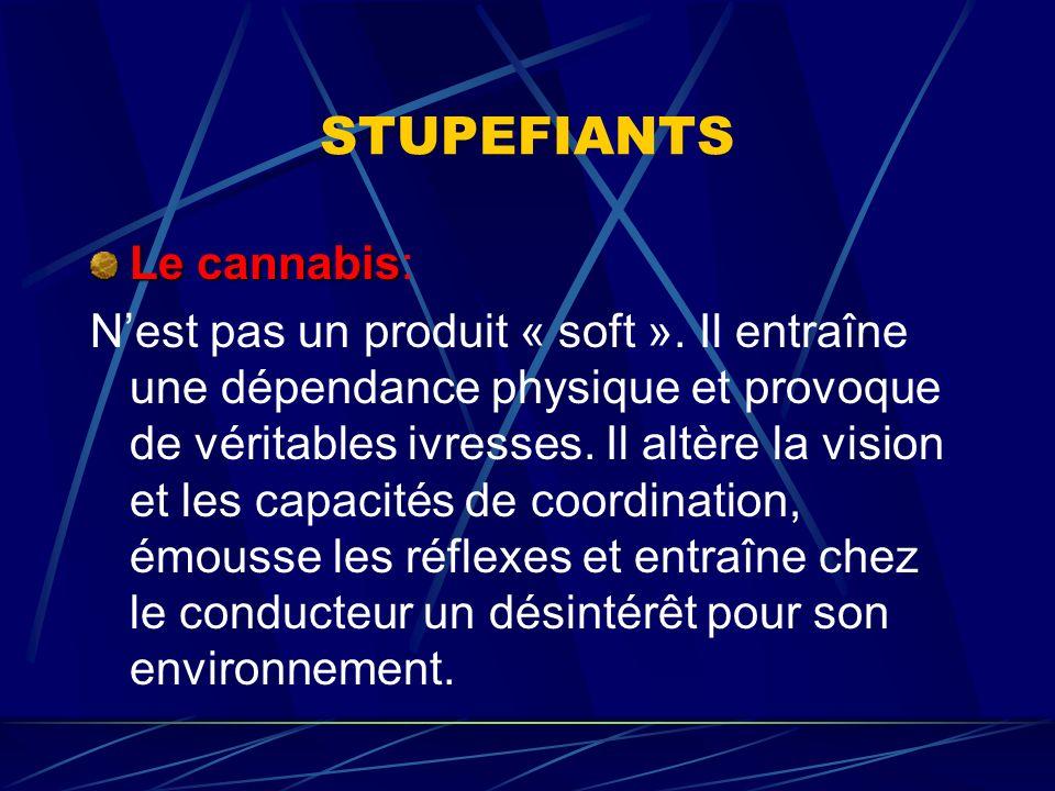 Le cannabis Le cannabis: Nest pas un produit « soft ». Il entraîne une dépendance physique et provoque de véritables ivresses. Il altère la vision et