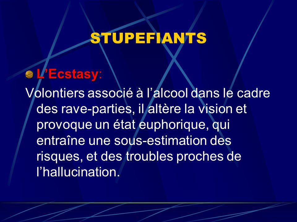 STUPEFIANTS LEcstasy LEcstasy: Volontiers associé à lalcool dans le cadre des rave-parties, il altère la vision et provoque un état euphorique, qui en