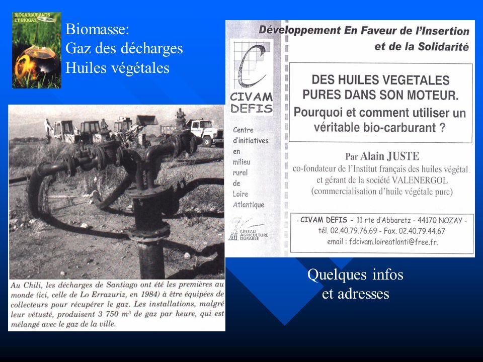 Biomasse: Bio-gaz et Agro-carburants Cultures de plantes pour éthanol.