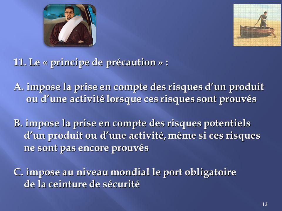 13 11.Le « principe de précaution » : A.